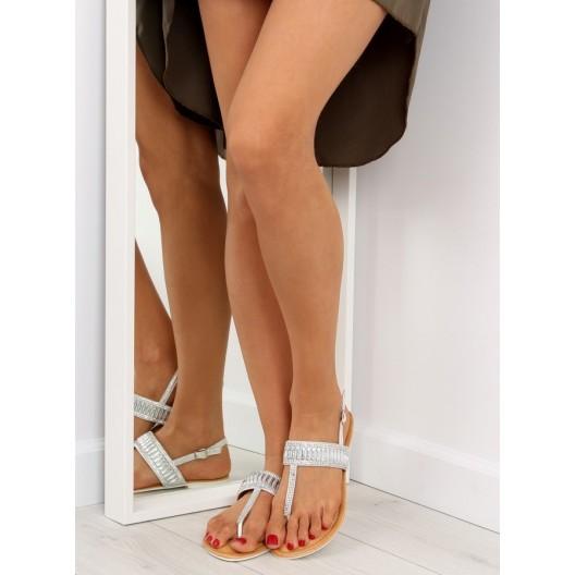 Letné sandále medzi prsty pre dámy v striebornej farbe