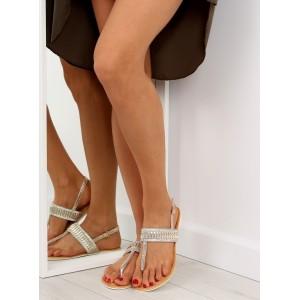 Pekné letné sandále v zlatej farbe bez podpätku