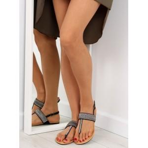 Sandále bez podpätku v čiernej farbe pre dámy