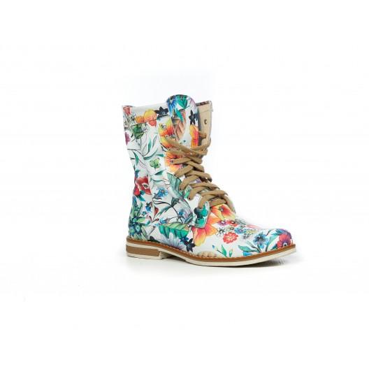 Dámske kotníkové kožené topánky s kvetmi
