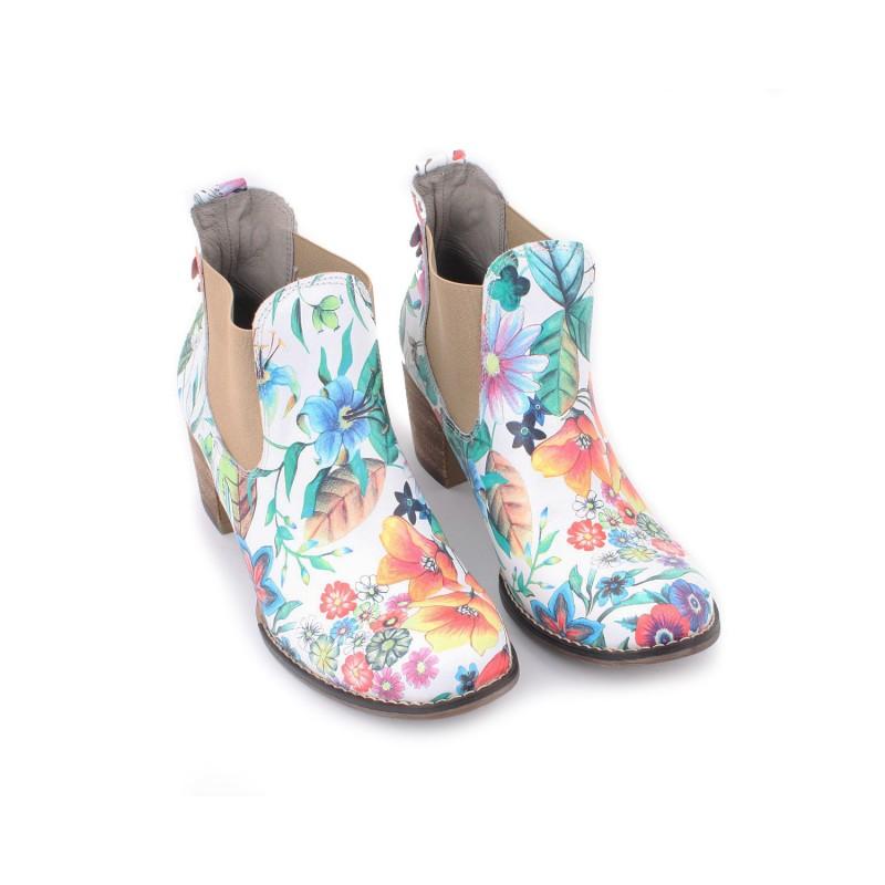 a02b4114c86d5 Kvetované dámske kožené topánky na hrubom podpätku | FashionDay.eu