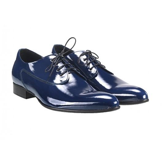 Pánske kožené spoločenské topánky lesklé modré 481