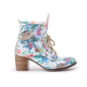 Dámske kvetované členkové kožené topánky s retiazkou