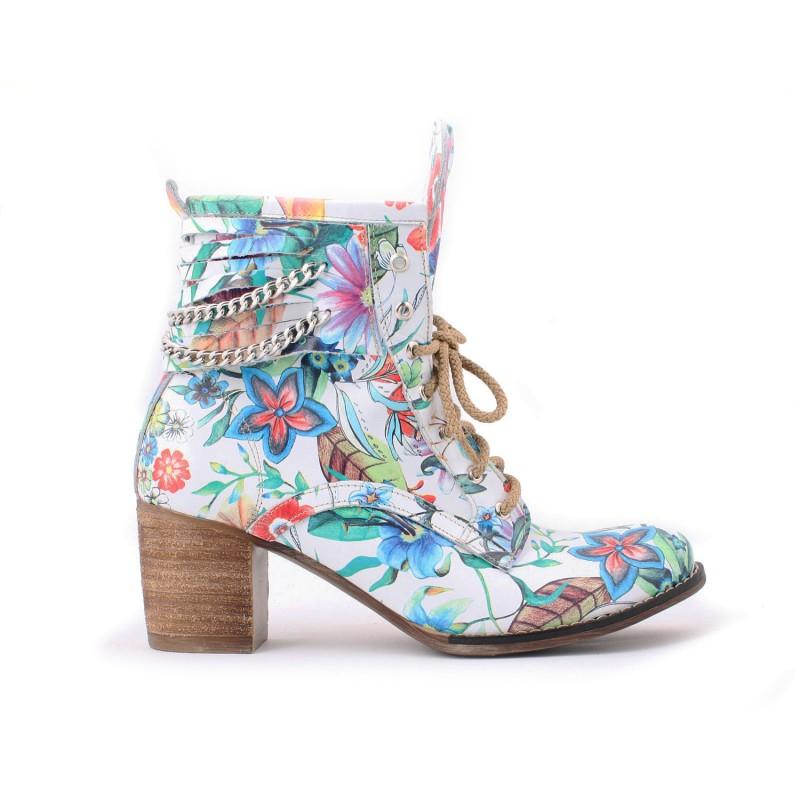 59d6a685f11b6 Dámske kvetované členkové kožené topánky s retiazkou | FashionDay.eu