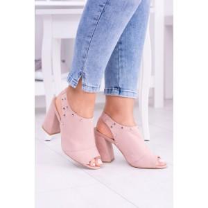 Dámske sandále na opätku s otvorenou špičkou ružovej farby