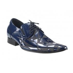 Pánske kožené spoločenské topánky lesklé modré