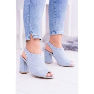Sandále na leto modrej farby s otvorenou špičkou a pätou