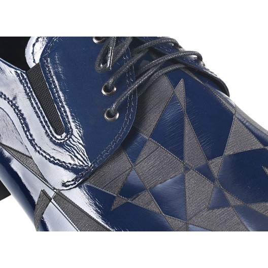 Pánske kožené spoločenské topánky lesklé modré 479