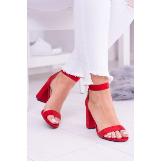 Červené sandále so zipsom vzadu