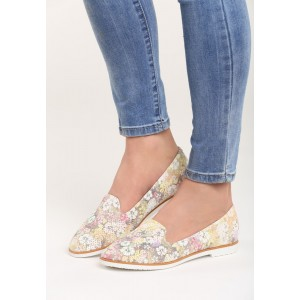 Dámska obuv s kvetmi žltej farby