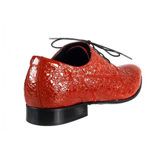 Pánske kožené spoločenské topánky červené 469