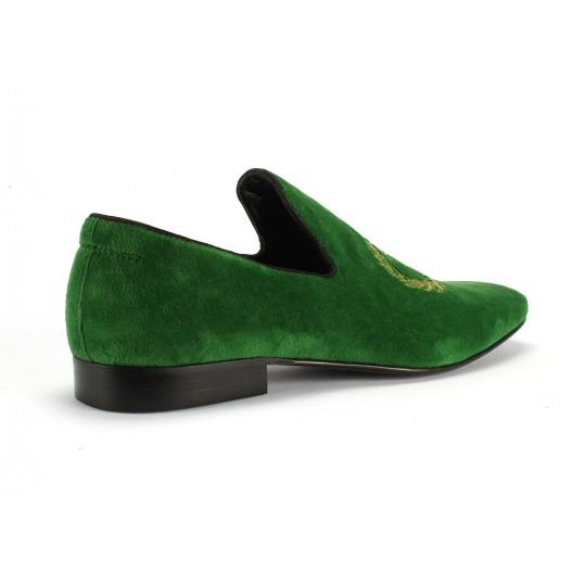Zelené pánske kožené mokasíny COMODO E SANO