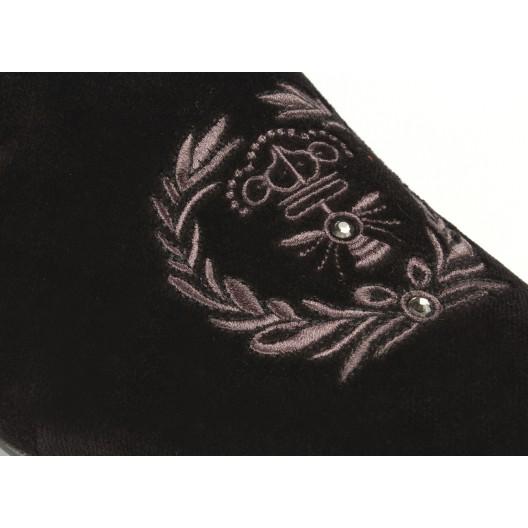 Pánske kožené mokasíny s motívom v čiernej farbe