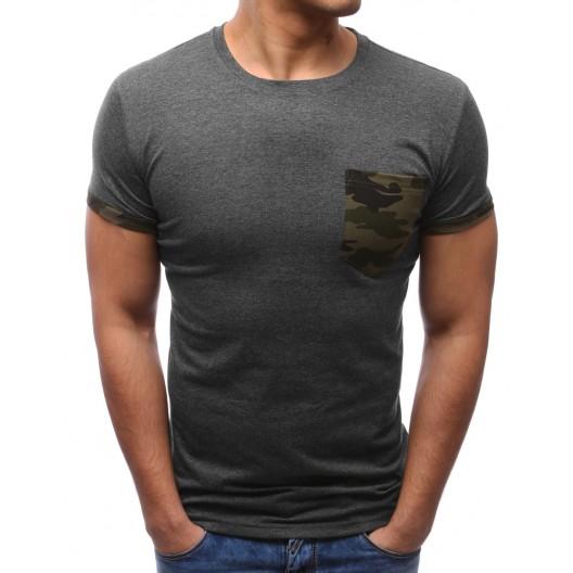 Štýlové tričká sivej farby s náprsným vreckom pre pánov