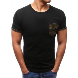 Pánske moderné tričká s krátkym rukávom čiernej farby