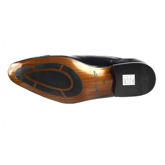 Pánske kožené spoločenské topánky čierne 454
