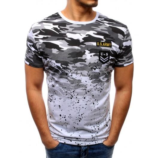 Pánske tričká slim so sivým ARMY vzorom