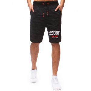 Krátke nohavice pánske v čiernej farbe s nápisom