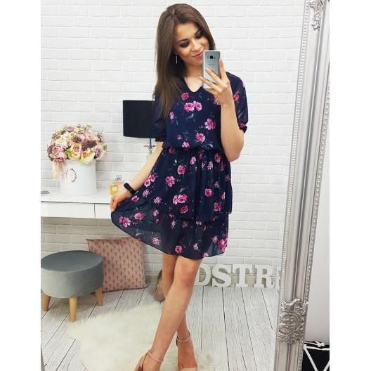 Dámske šaty na leto s kvetmi a krátkym rukávom