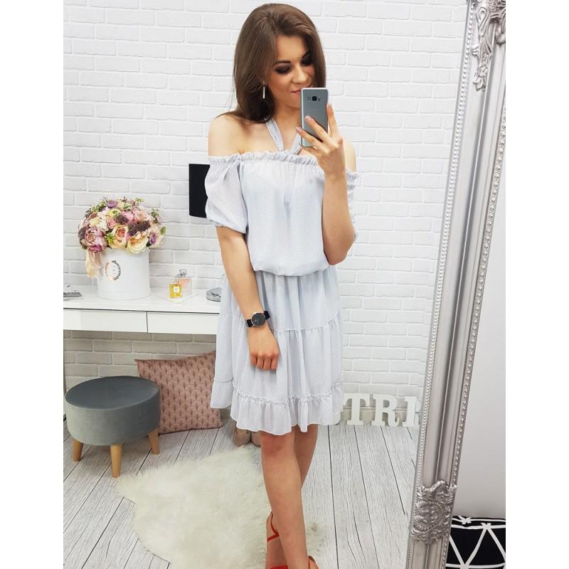 46b13c7c7fec Voľné šaty v bielej farbe s jemným bodkovaným vzorom