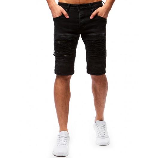 Krátke pánske nohavice na leto v čiernej farbe so vzorom