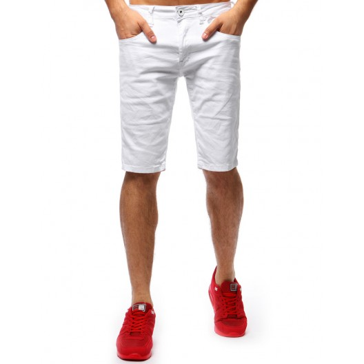 Pánske šortky s vreckami na leto v bielej farbe