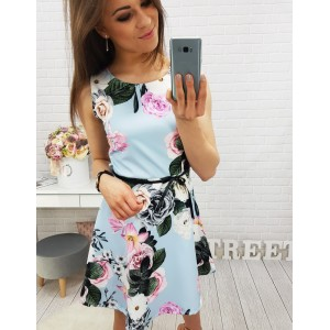 Kvetované šaty bez rukávov nad kolená v modrej farbe