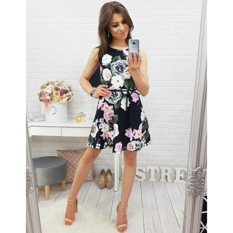 Čierne šaty nad kolená s kvetmi na každú príležitosť bccd491863c