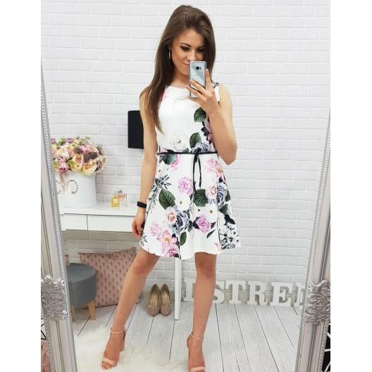 Biele šaty krátke bez rukávov s kvetovaným vzorom