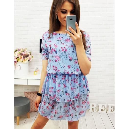 Elegantné šaty po kolená modrej farby s krátkym rukávom