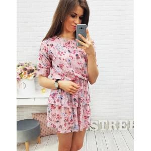 Mini šaty pre dámy s krátkym rukávom ružovej farby
