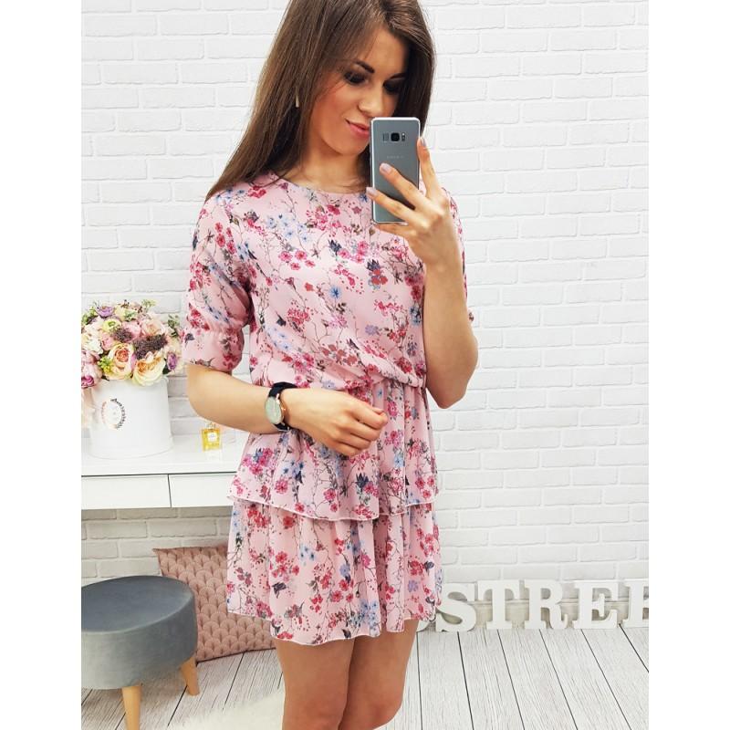 Mini šaty pre dámy s krátkym rukávom ružovej farby 8a1f07a50ea