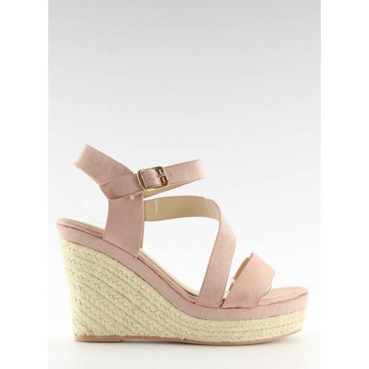 Dámske sandále vysoké v ružovej farbe na každý deň