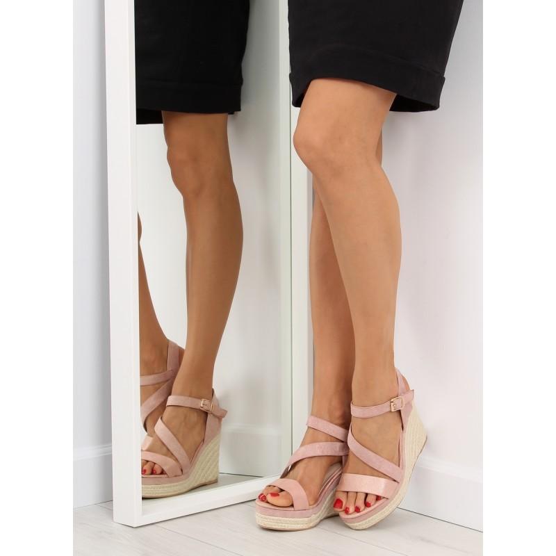 81af5195787d Dámske sandále vysoké v ružovej farbe na každý deň
