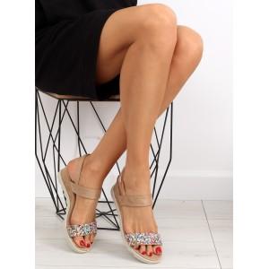 Letné sandále na platforme béžovej farby pre dámy