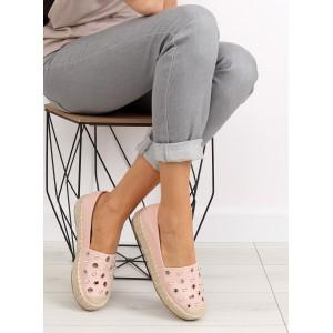 Topánky espadrilky ružovej farby ozdobené guličkami