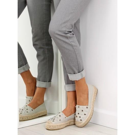 Espadrilky dámske s guličkami vpredu sivej farby