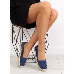 Letná obuv v tmavo modrej farbe s pletenou podrážkou