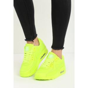 Dámske športové botasky v neónovo žltej farbe