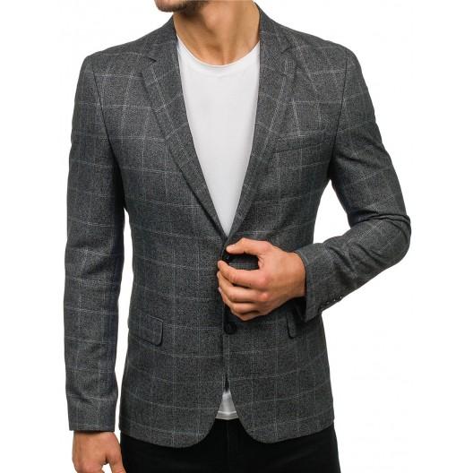 Pánske karované sako slim v sivej farbe