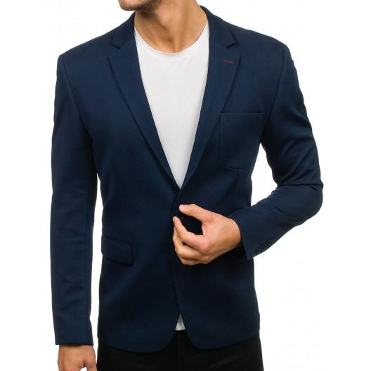 Pánske športovo elegantné sako v modrej farbe