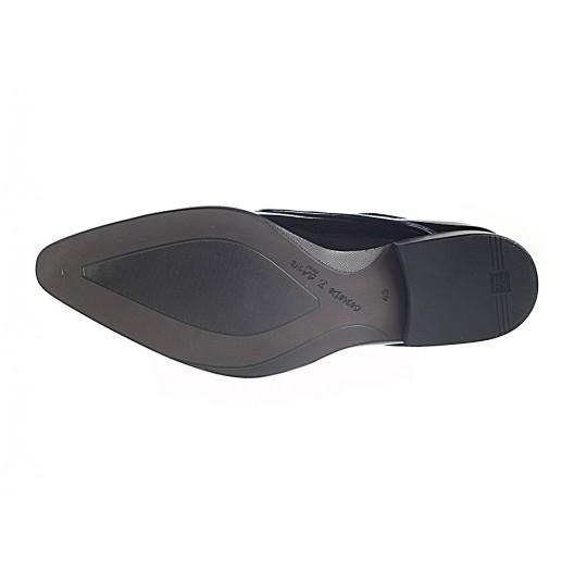 Pánske kožené spoločenské topánky lesklé čierne ID: 504