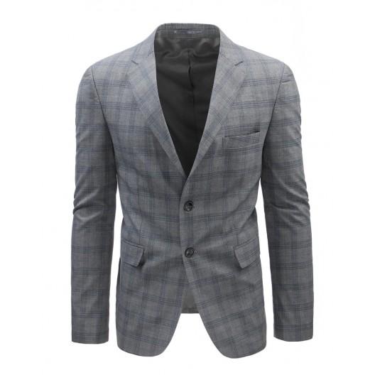 Pánske kárované sako v sivej farbe s dvomi gombíkmi