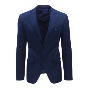 Pánske slim fit saká modrej farby s károvaným vzorom