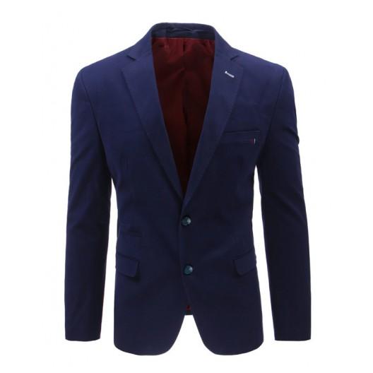 Elegantné sako tmavo modrej farby s vreckami a gombíkmi