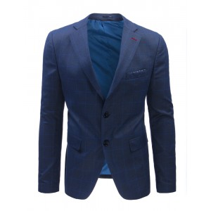 Pánske elegantné saká s károvanám vzorom modrej farby