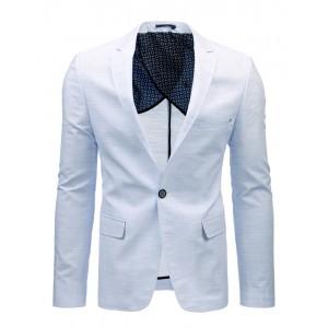 Pánske sako slim fit s jedným gombíkom svetlo modré