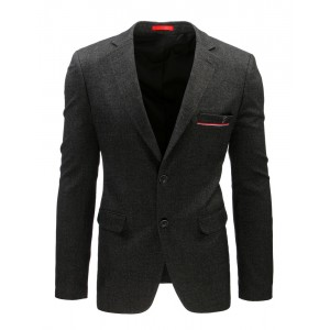 Moderné pánske sako čiernej farby s gombíkmi