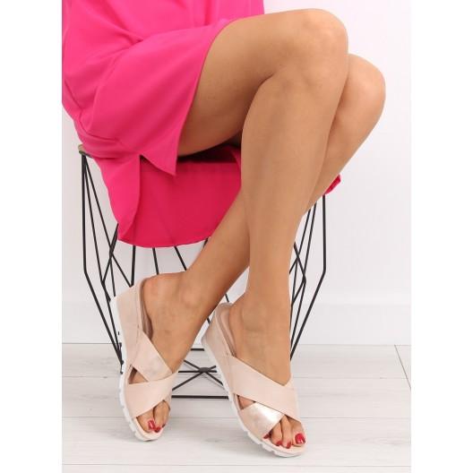 Elegantné šľapky na podpätku v béžovej farbe
