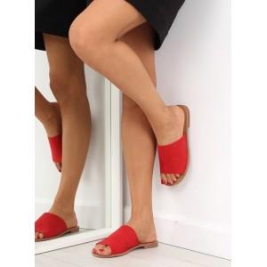 Dámske letné šľapky v červenej farbe